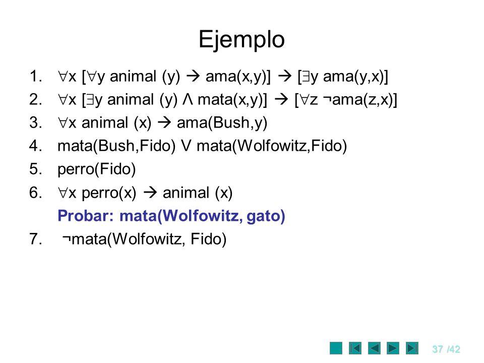 Ejemplo x [y animal (y)  ama(x,y)]  [y ama(y,x)]